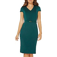 Dorothy Perkins - Green scuba belted pencil dress
