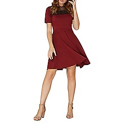 Dorothy Perkins - Berry red flute sleeves fit and flare dress