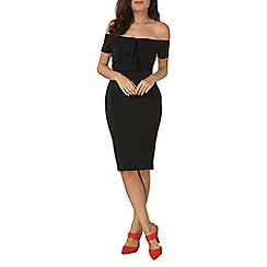 Dorothy Perkins - Black bow bardot bodycon dress
