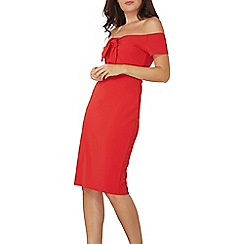 Dorothy Perkins - Red bow bardot bodycon dress