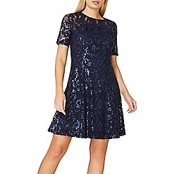 Dorothy Perkins - Navy lace sequin fit and flare dress