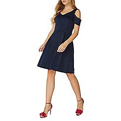 Dorothy Perkins - Navy cold shoulder fit and flare dress