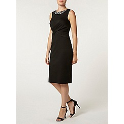 Dorothy Perkins - Black twist front embellished pencil dress