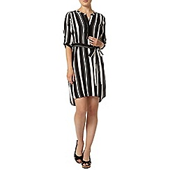 Dorothy Perkins - Black and white stripe tie waist shift dress