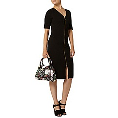 Dorothy Perkins - Black zip front bodycon dress