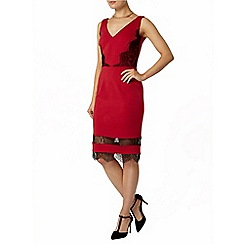 Dorothy Perkins - Raspberry insert lace pencil dress
