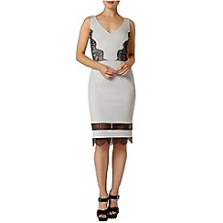 Dorothy Perkins - Grey lace insert pencil dress