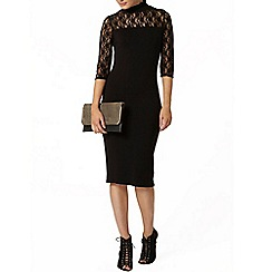 Dorothy Perkins - Black high neck lace bodycon dress