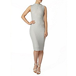 Dorothy Perkins - Silver high neck bodycon dress