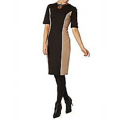 Dorothy Perkins - Black and camel panel bodycon dress