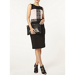 Dorothy Perkins - Black and blush lace pencil dress
