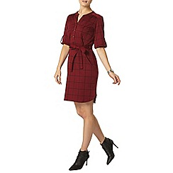 Dorothy Perkins - Wine check jersey shirt dress