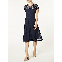 Dorothy Perkins - Navy lace scallop midi dress