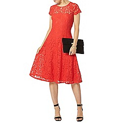 Dorothy Perkins - Coral lace midi fit and flare dress