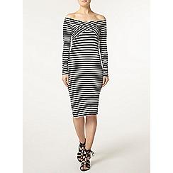 Dorothy Perkins - Stripe cross front bardot dress