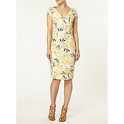 Dorothy Perkins - Yellow floral midi dress