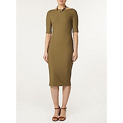 Dorothy Perkins - Khaki new rib bodycon dress