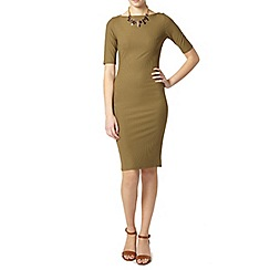 Dorothy Perkins - Tall khaki rib bodycon dress