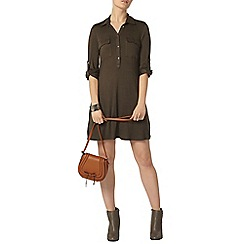 Dorothy Perkins - Khaki jersey shirt swing dress