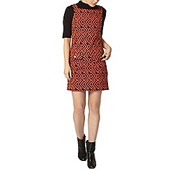 Dorothy Perkins - Orange geo pinafore dress