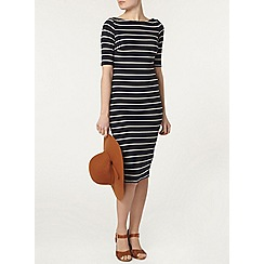 Dorothy Perkins - Navy stripe rib bodycon dress