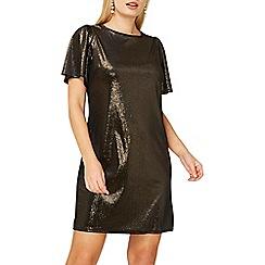 Dorothy Perkins - Gold velvet shimmer shift dress