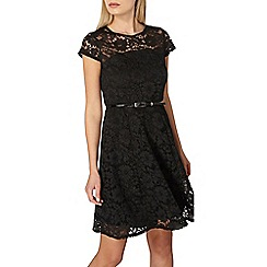 Dorothy Perkins - Black belted lace fit and flare dress