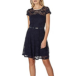 Dorothy Perkins - Navy belted lace fit and flare dress