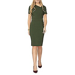 Dorothy Perkins - Khaki asymmetric pencil dress
