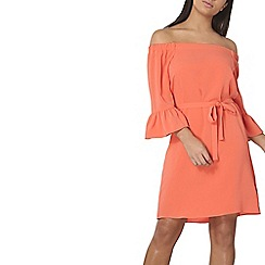 Dorothy Perkins - Coral long sleeve bardot dress