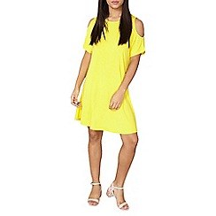 Dorothy Perkins - Yellow cold shoulder swing dress
