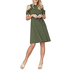 Dorothy Perkins - Khaki cold shoulder tea dress