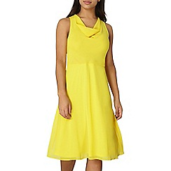 Dorothy Perkins - Yellow cowl neck fit and flare dress