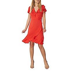 Dorothy Perkins - Red pin spot ruffle wrap dress
