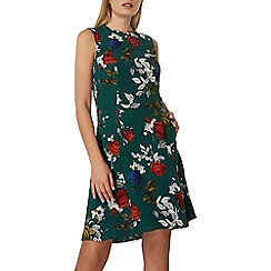 Dorothy Perkins - Green rose print fit and flare dress