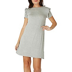 Dorothy Perkins - Grey ruffle shoulder swing dress