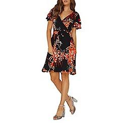 Dorothy Perkins - Black oriental floral wrap dress