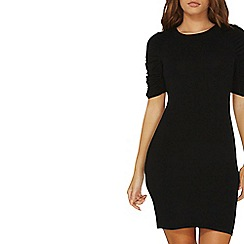 Dorothy Perkins - Black ruched sleeve bodycon dress