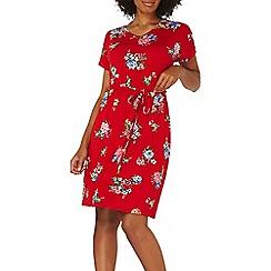 Dorothy Perkins - Red floral v-neck shift dress