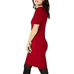 Dorothy Perkins - Burgundy red tuck sleeve bodycon dress