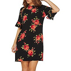 Dorothy Perkins - Black rose floral  ruffle sleeve shift dress