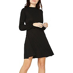 Dorothy Perkins - Black frill neck fit and flare dress
