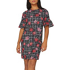 Dorothy Perkins - Black floral and check print shift dress