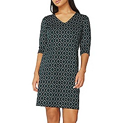 Dorothy Perkins - Green jacquard print shift dress