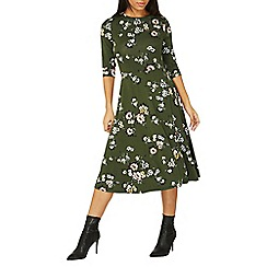 Dorothy Perkins - Green floral print midi skater dress