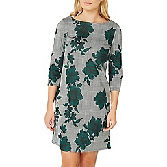 Dorothy Perkins - Green floral print and checked shift dress