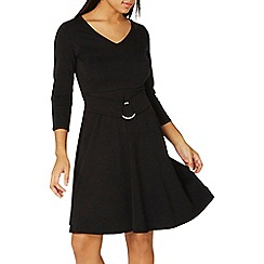Dorothy Perkins - Black belted fit and flare dress