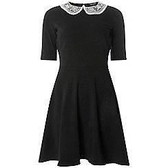 Dorothy Perkins - Black lace collar skater dress