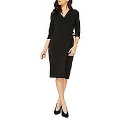 Dorothy Perkins - Black 3/4 sleeve crepe wrap dress