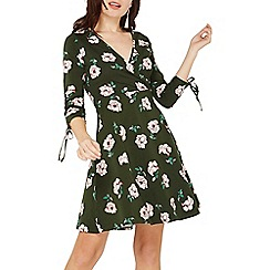 Dorothy Perkins - Khaki floral print fit and flare dress